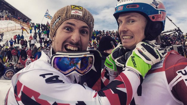 Nur drei Hundertstel Rückstand im Slalom: Da kann man dem Gegner schon mal an die Gurgel gehen... (Bild: twitter.com)