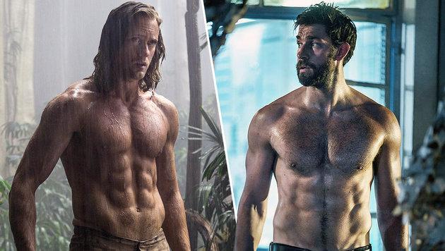 Hollywoods Männer haben Muskeln aus Stahl: Alexander Skarsgard (l.), John Krasinski (r.) (Bild: Viennareport)