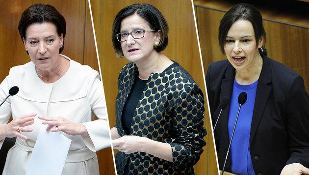 Besonders betroffen: die Ministerinnen Heinisch-Hosek, Mikl-Leitner und Karmasin (Bild: APA/ROLAND SCHLAGER, APA/HERBERT PFARRHOFER)