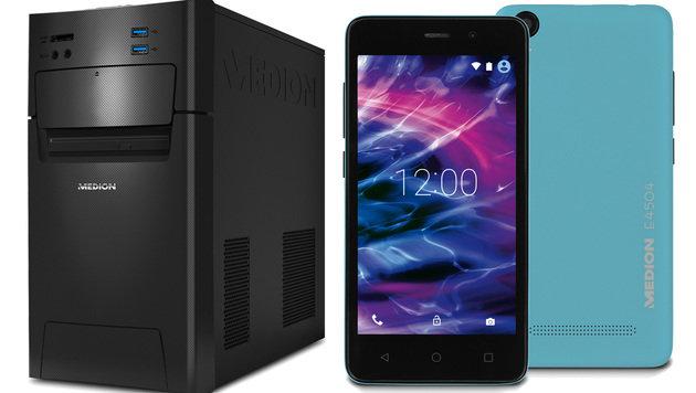 Windows-10-PC und 100-Euro-Smartphone bei Hofer (Bild: Medion)