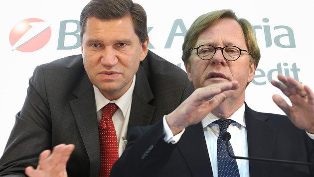 PVA-Chef Pinggera (li.) und Noch-Bank-Austria-Vorstand Cernko (Bild: EXPA, Gerhard Bartel, APA/HELMUT FOHRINGER)