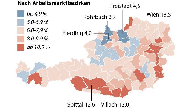 Die Arbeitslosigkeit in Österreich nach Bezirken (Bild: APA-Grafik)