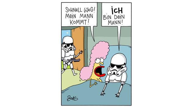 """""""Karikaturen: Da lacht die dunkle Seite der Macht (Bild: Zako)"""""""