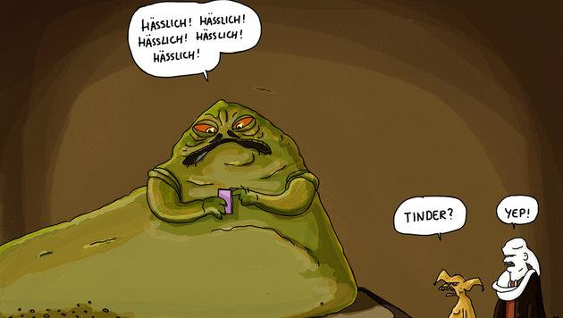 """""""Karikaturen: Da lacht die dunkle Seite der Macht (Bild: Masztalerz)"""""""
