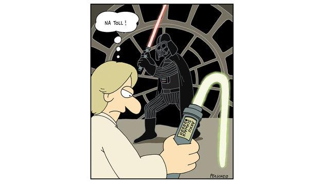 """""""Karikaturen: Da lacht die dunkle Seite der Macht (Bild: Perscheid)"""""""