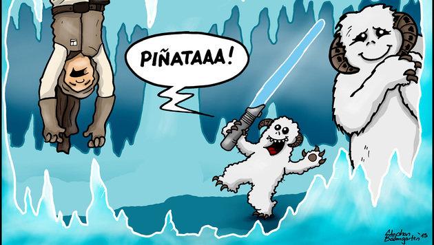 """""""Karikaturen: Da lacht die dunkle Seite der Macht (Bild: Baumgarten)"""""""