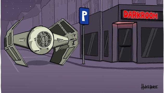 """""""Karikaturen: Da lacht die dunkle Seite der Macht (Bild: Holtschulte)"""""""