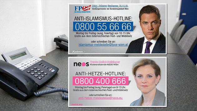 FPÖ und NEOS rittern mit neuen Hotlines um Wähler (Bild: thinkstockphotos.de, NEOS, FPÖ)