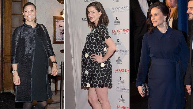 Kronprinzessin Victoria, Anne Hathaway und Prinzessin Sofia freuen sich auf ihre Babys. (Bild: Viennareport)