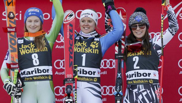 Ana Drev, Viktoria Rebensburg und Tina Weirather (Bild: AP)