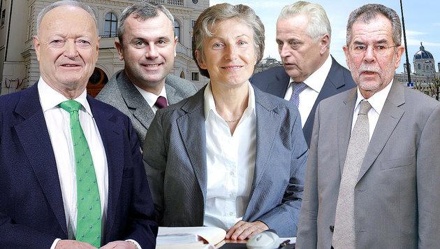 Experten: Hofburg-Wahl so spannend wie noch nie (Bild: APA/ROLAND SCHLAGER, APA/GEORG HOCHMUTH, APA/ROBERT JAEGER)