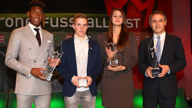 David Alaba, Markus Blutsch, Lisa-Marie Zmek und Marcel Koller (Bild: GEPA)