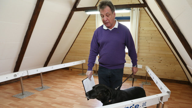 Wolfgang Gleichweit mit einem der insgesamt sieben Hunde aus der Krebshundestaffel. (Bild: Jürgen Radspieler)