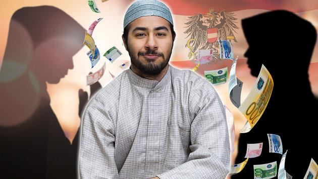 Muslime mit Zweitfrau: Bis zu 3000 € Sozialhilfe (Bild: thinkstockphotos.de (Symbolbilder), krone.at-Grafik)