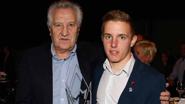 Dolfi Blutsch und sein Enkel, Lotterien-Jungstar Markus Blutsch (Bild: GEPA)