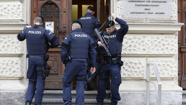 Die Sicherheitsvorkehrungen in Graz waren groß. (Bild: APA/Erwin Scheriau)