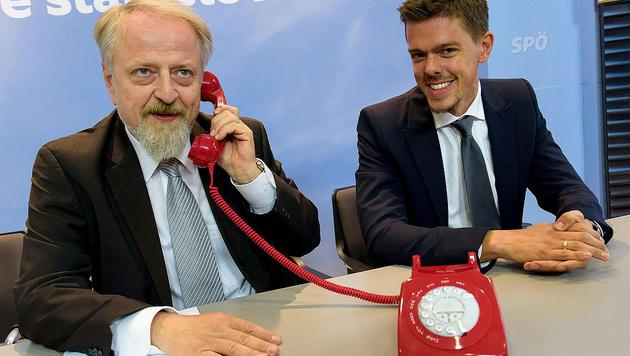 Parteimanager Gerhard Schmid und Kommunikationschef Matthias Euler-Rolle (Bild: APA/SPÖ/Thomas Lehmann)