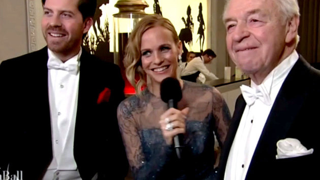 ORF-Lady Weichselbraun beim Interview mit Harald und Daniel Serafin (Bild: ORF/krone.tv)