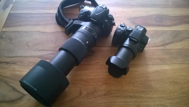 Gegenüber einer Vollformat-DSLR mit 600-mm-Optik ist Panasonics FZ300 deutlich kleiner und leichter. (Bild: ser, krone.at)