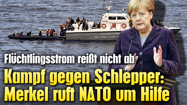 Kampf gegen Schlepper: Merkel ruft NATO um Hilfe (Bild: APA/AFP/ARIS MESSINIS, APA/AFP/ADEM ALTAN)