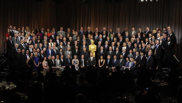 Gruppenbild aller für einen Oscar 2016 nominierten Filmschaffenden und Schauspieler (Bild: Chris Pizzello/Invision/AP)