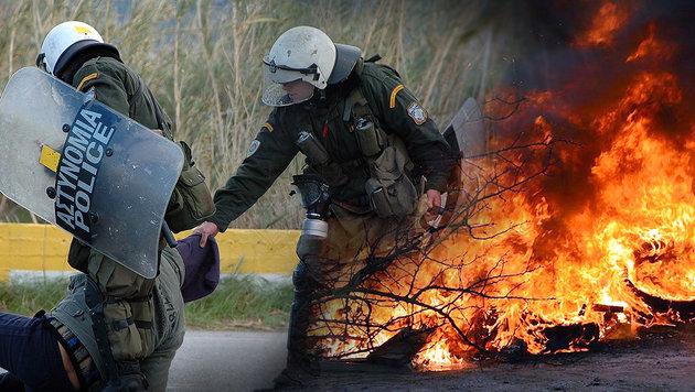 Aufstand gegen Asyl-Hotspot auf Ferieninsel Kos (Bild: APA/EPA)
