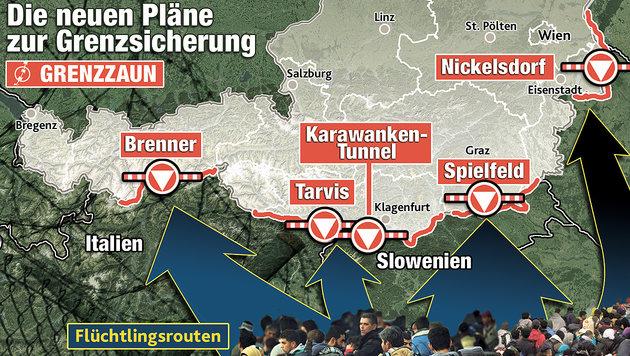 """Flüchtlingsbewegung Richtung Österreich (Bild: """"Krone""""-Grafik)"""