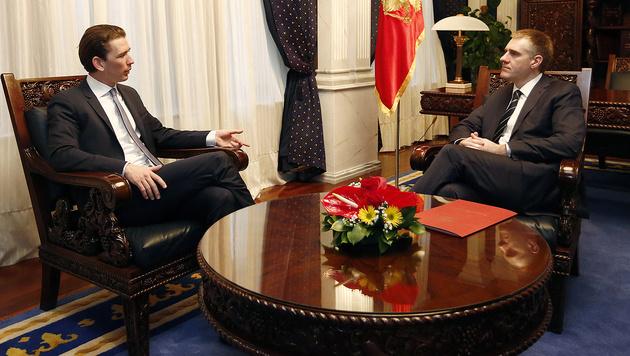 Außenminister Luksic empfängt Kurz in Podgorica (Bild: APA/Außenministerium/Dragan Tatic)