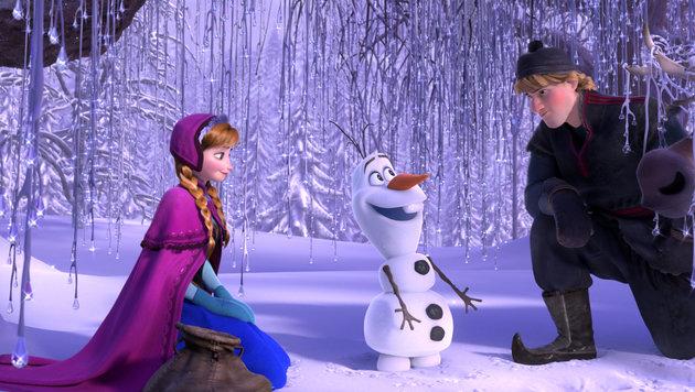 Königin Elsas Schwester, Prinzessin Anna, mit Schneemann Olaf und Eissammler Kristoff. (Bild: AP)