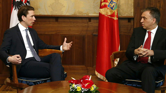 Kurz bei Montenegros Präsident Filip Vujanovic (Bild: APA/Außenministerium/Dragan Tatic)