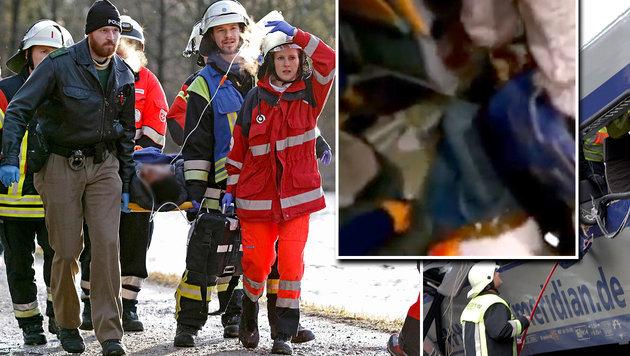 Unvorstellbar: Opfer filmte Minuten nach Zug-Crash (Bild: APA/AFP/dpa/UWE LEIN, AP, YouTube.com/Marcel Coolio)