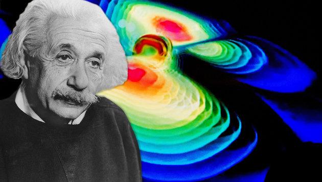 Eine Computersimulation zeigt die Ausbreitung von Gravitationswellen. (Bild: APA/dpa/Julian Stratenschulte, APAdpa/dpaweb)