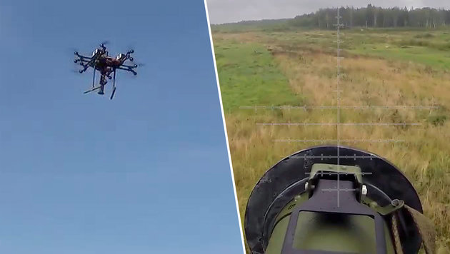 Russische Mini-Drohnen greifen mit Raketen an (Bild: Ruptly.TV)