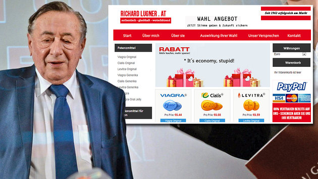 richardlugner.at macht Werbung für Potenzmittel (Bild: APA/ROLAND SCHLAGER, richardlugner.at)