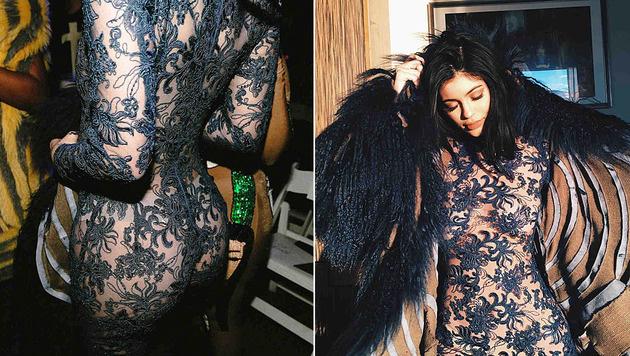 Kylie Jenner sorgte mit ihrem Nackt-Outfit bei der Fashion Week für Aufsehen. (Bild: Viennareport)