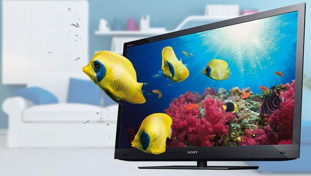 Will keiner: 3D-Fernsehen vor dem Aus? (Bild: Sony, thinkstockphotos.de)