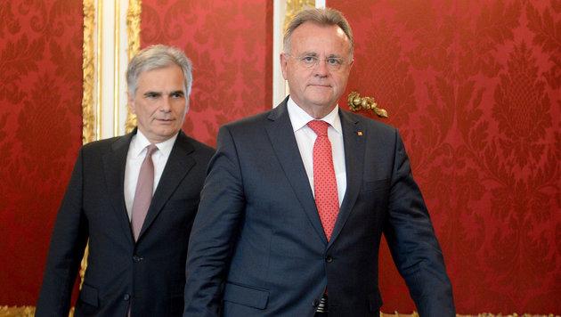Burgenlands Landeshauptmann Hans Niessl mit Bundeskanzler Werner Faymann (Bild: APA/ROLAND SCHLAGER)