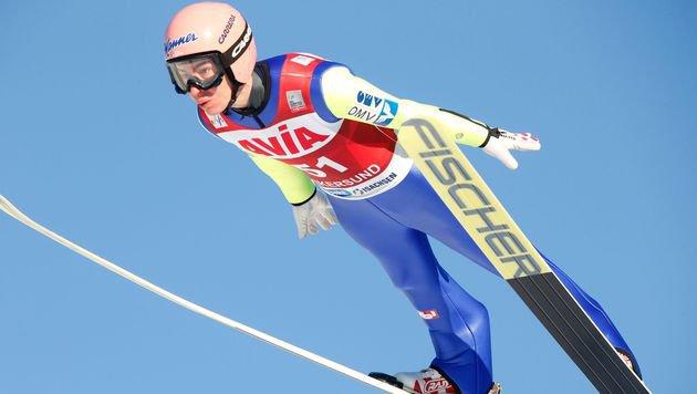 Stefan Kraft nur von Überflieger Prevc besiegt (Bild: APA/AFP/NTB Scanpix/TERJE BENDIKSBY)