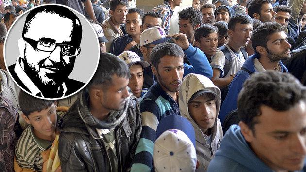 Schluss mit diesen Asyl-Massenquartieren! (Bild: APA/HERBERT NEUBAUER, Krone-Grafik)