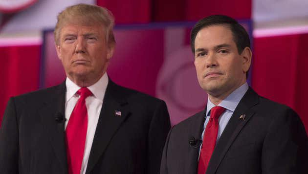 Trump und sein Konkurrent Marco Rubio (Bild: AFP)