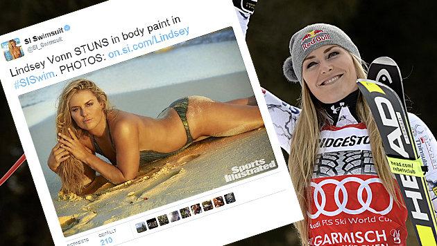 Lindsey Vonn will bis 2019 weiterfahren (Bild: APA/AFP/CHRISTOF STACHE, Screenshot/Twitter/SI Swimsuit)