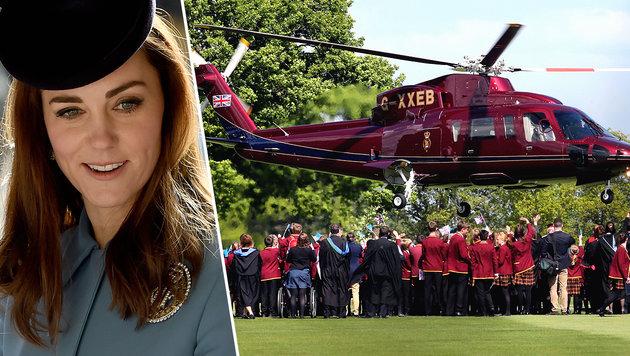 Kate sorgt mit Heli-Flug um 3876 Euro für Empörung (Bild: ASSOCIATED PRESS, Viennareport)