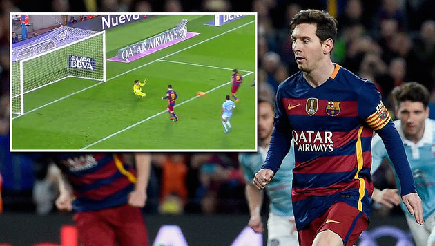 Messi spielt Elfer ab und wird zum Super-Helden! (Bild: LAOLA SP, APA/AFP/JOSEP LAGO)