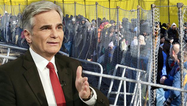 """""""Was dann, wenn 100.000 Menschen vor Zaun stehen?"""" (Bild: APA/BKA/ANDY WENZEL, APA/Harald Schneider)"""
