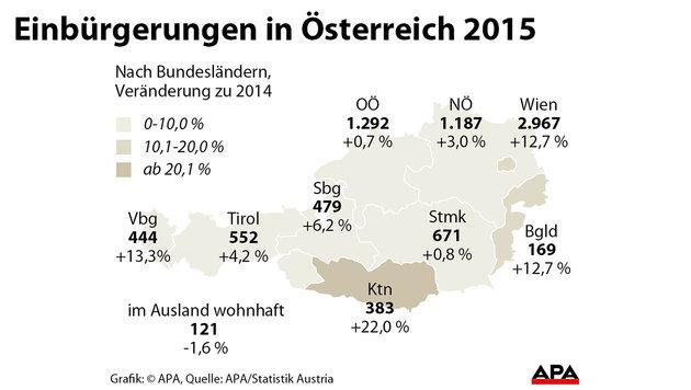 Einbürgerungen: Zahlen im Vorjahr wieder gestiegen (Bild: APA)