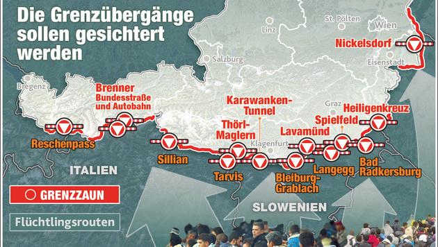 Asylkrise: Österreich riegelt sich weiter ab (Bild: Krone-Grafik)