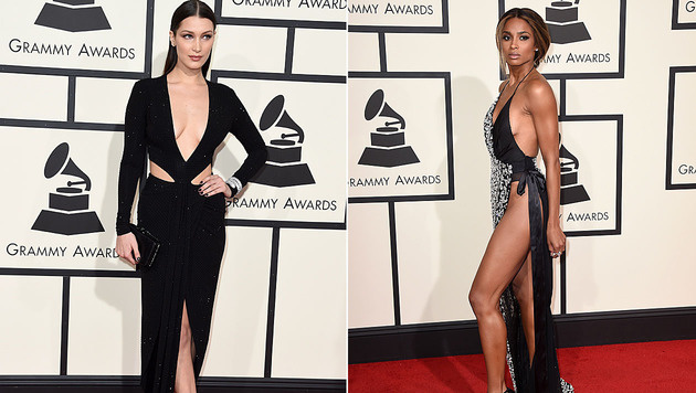 Die Promi-Ladys zeigten bei den Grammys viel nackte Haut. (Bild: APA/AFP/VALERIE MACON, Jordan Strauss/Invision/AP)