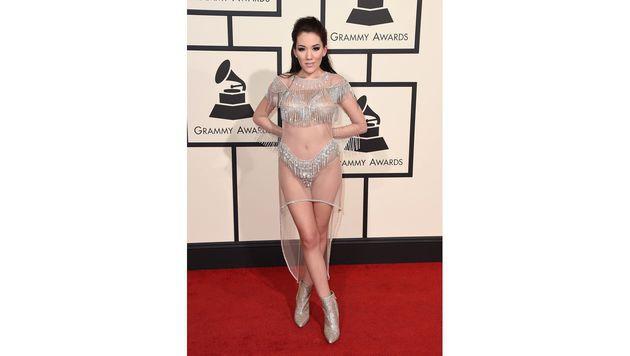 Sängerin Manikas Outfit war fast nicht vorhanden. (Bild: Jordan Strauss/Invision/AP)