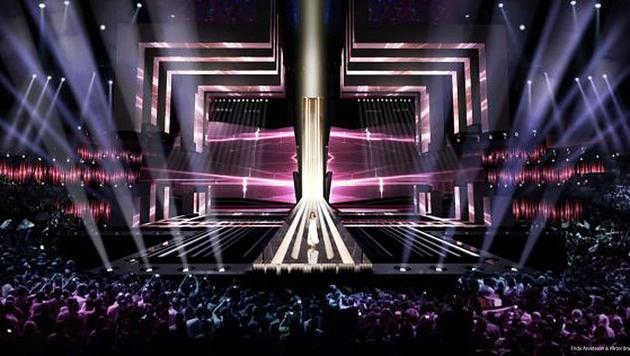 Die Bühne beim diesjährigen Song Contest ist eckig. (Bild: SVT)
