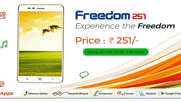 Neues Android-Smartphone kostet 3,28 (!) Euro (Bild: freedom251.com)